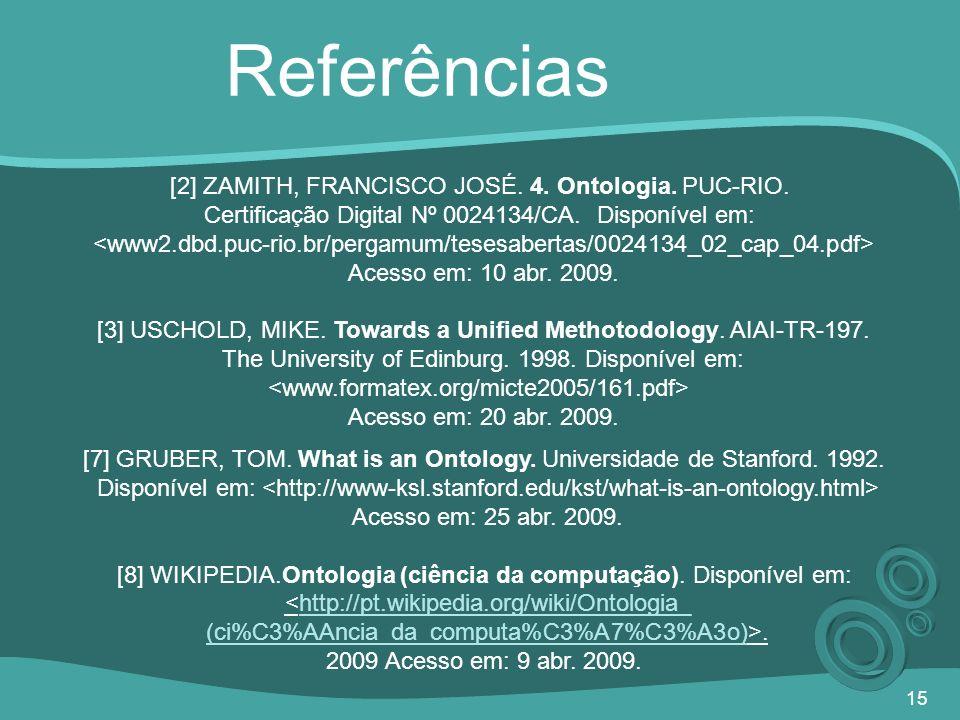 Referências [2] ZAMITH, FRANCISCO JOSÉ. 4. Ontologia. PUC-RIO.
